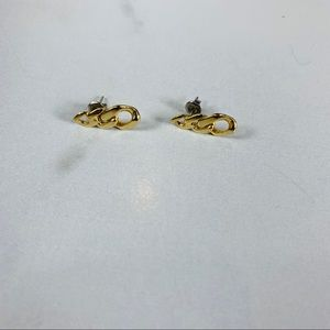 Vintage Gold Fused Chain Earrings 80s 90s